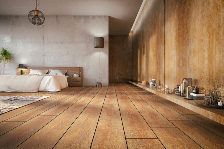 Interiørbilde av et soverom med tregulv.
